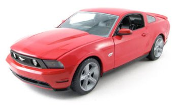 FORD MUSTANG GT TORCH RED/WHITE STRIPES 1/18